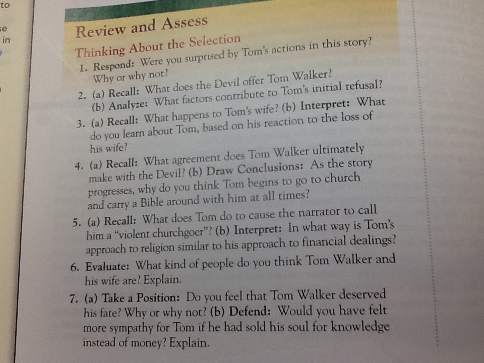 th grade ela mrs holok the devil and tom walker questions